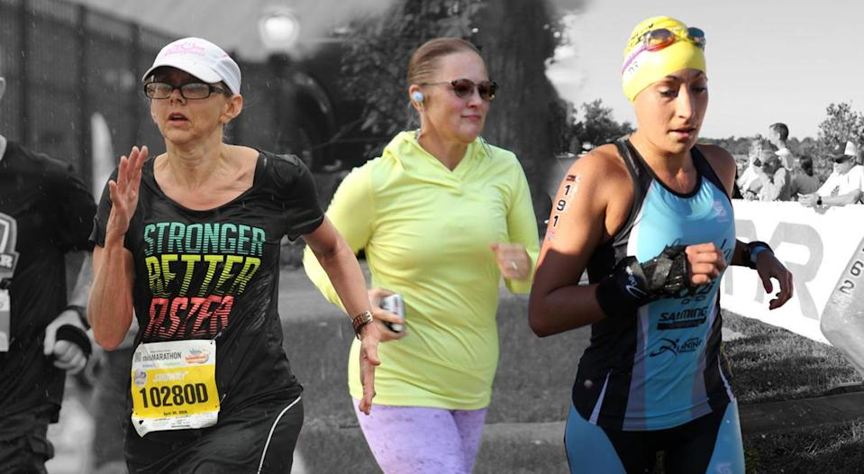 Jeri Strachner, left, April Wells and Dina Rios push past joint pain and stiffness because running is their passion. (Photos: Courtesy of Jeri Strachner, April Wells and Dina Rios)
