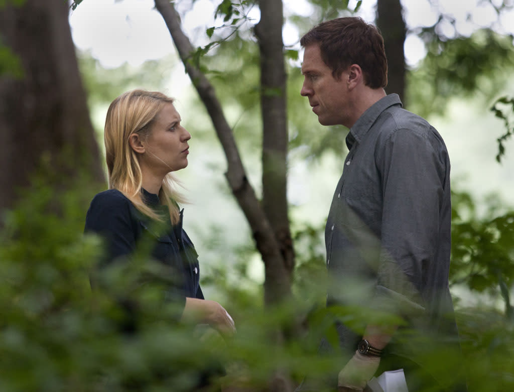 "Claire Danes as Carrie Mathison and Damian Lewis as Nicholas ""Nick"" Brody in the ""Homeland"" Season 2 episode, ""The Clearing."""