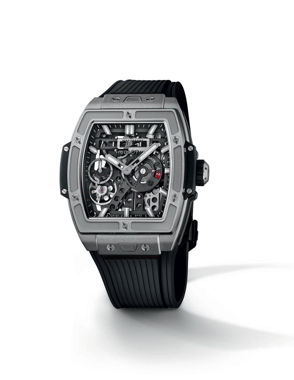 """<p>Hublot Spirit Of Big Bang Meca-10 (release date tba)<br></p><p>There are men's watches, then there are Hublot watches. Available in three versions, titanium, black ceramic and 'king gold' alloy, the Spirit of Big Bang Meca-10 is named after its groundbreaking movement, which packs a 10-day power reserve, and represents one of a handful of strong 2020 releases for the brand. Hublot's peerless technical design chops are visible in the trademark open working, topped off with a trademark chunky rubber strap, making this as impressive as it is unapologetically masculine.</p><p>From £20,000; <a href=""""https://www.hublot.com/en/"""" rel=""""nofollow noopener"""" target=""""_blank"""" data-ylk=""""slk:hublot.com"""" class=""""link rapid-noclick-resp"""">hublot.com</a></p>"""