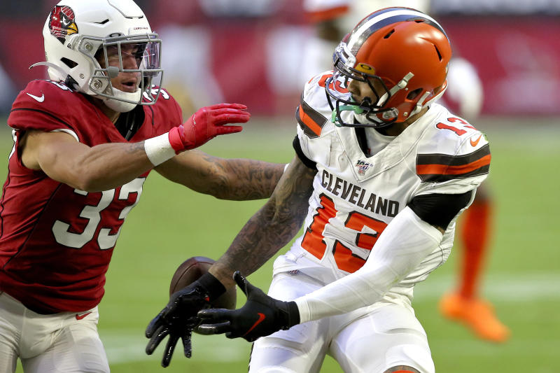 Cleveland Browns wide receiver Odell Beckham (13) can't make the catch as Arizona Cardinals cornerback Byron Murphy (33) defends during the first half of an NFL football game, Sunday, Dec. 15, 2019, in Glendale, Ariz. (AP Photo/Ross D. Franklin)