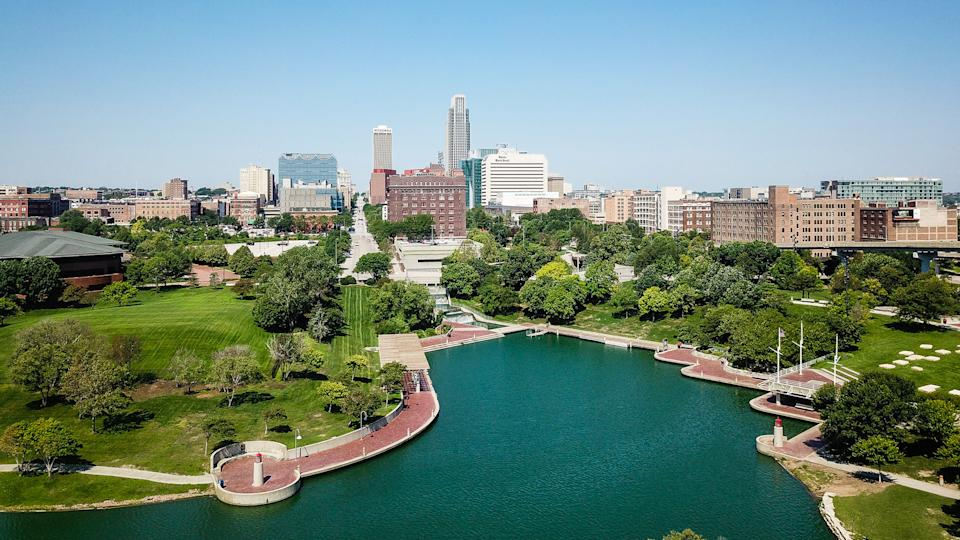 Aerial Drone Photography of Downtown Omaha Nebraska.