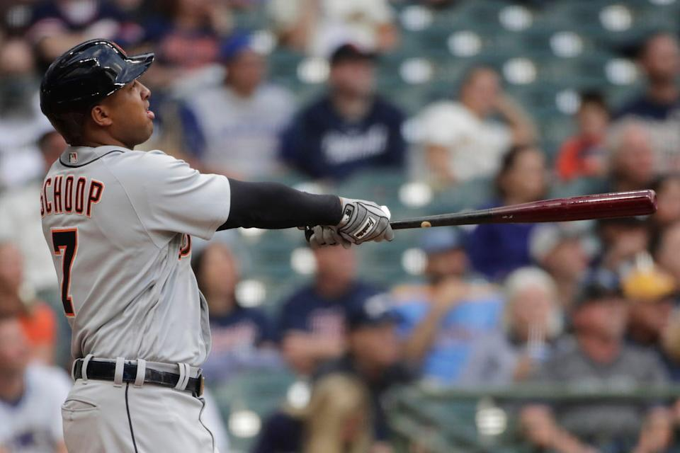 Tigers second baseman Jonathan Schoop watches his two-run home run during the second inning on Tuesday, June 1, 2021, in Milwaukee.
