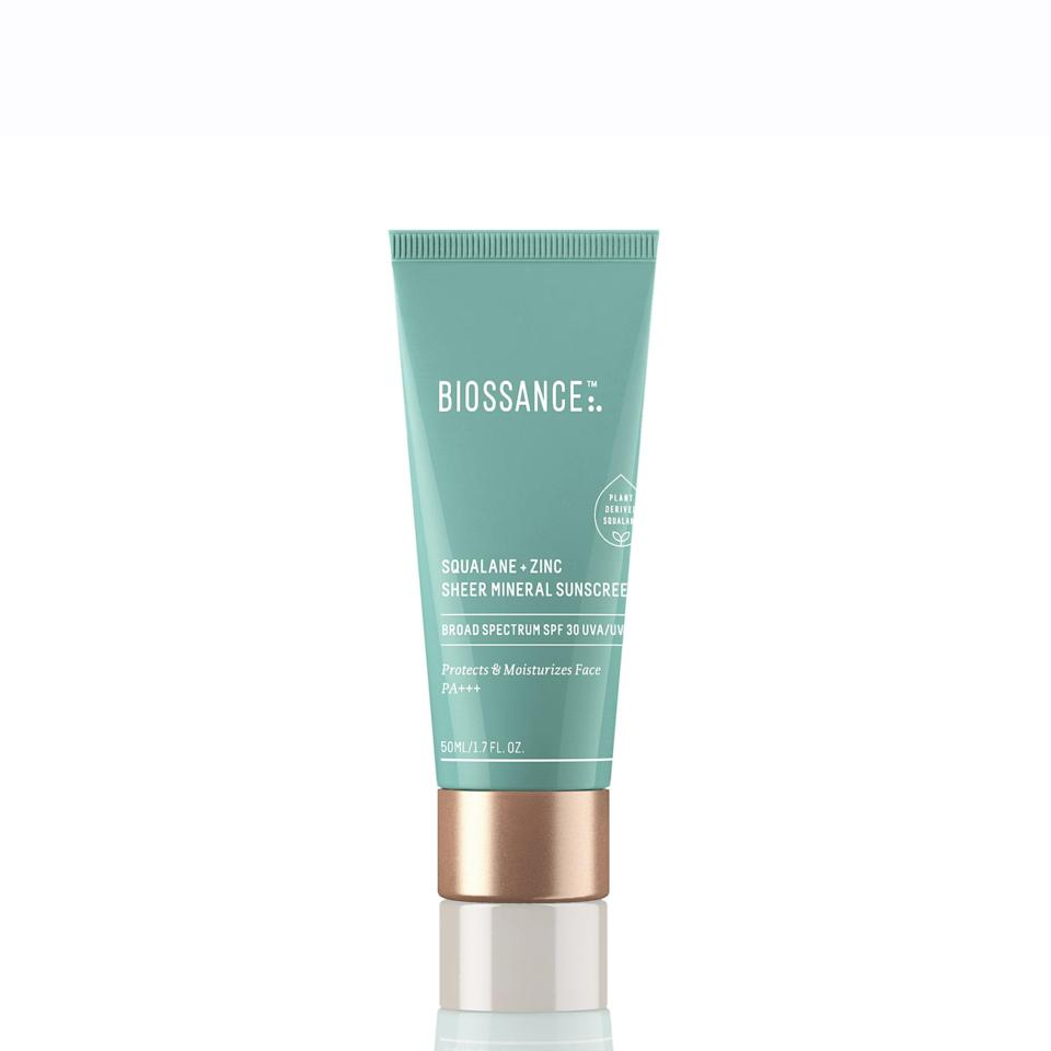 """Made with <a href=""""https://www.allure.com/gallery/best-natural-organic-sunscreen?mbid=synd_yahoo_rss"""" rel=""""nofollow noopener"""" target=""""_blank"""" data-ylk=""""slk:zinc oxide"""" class=""""link rapid-noclick-resp"""">zinc oxide</a>, the Biossance Squalane + Zinc Mineral Sunscreen definitely needs to be on your radar. Not only does it provide a protective barrier from harmful UV rays, but the super lightweight formula contains ingredients like cooling water lily and squalane to <a href=""""https://www.allure.com/story/squalane-vs-squalene-skin-care-difference?mbid=synd_yahoo_rss"""" rel=""""nofollow noopener"""" target=""""_blank"""" data-ylk=""""slk:keep skin hydrated"""" class=""""link rapid-noclick-resp"""">keep skin hydrated</a> as it shields."""