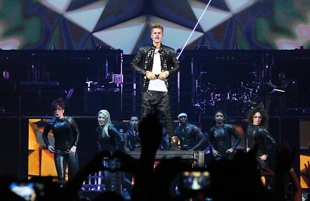 Justin Bieber kicks off the start of his Believe tour at the Jobing Arena with support from Carly Rae Jepsen and Cody Simpson. The 18-year-old pop star battled illness during the show and vomited on stage in front of fans. Glendale, Arizona - 29.09.12 Mandatory Credit: WENN.com