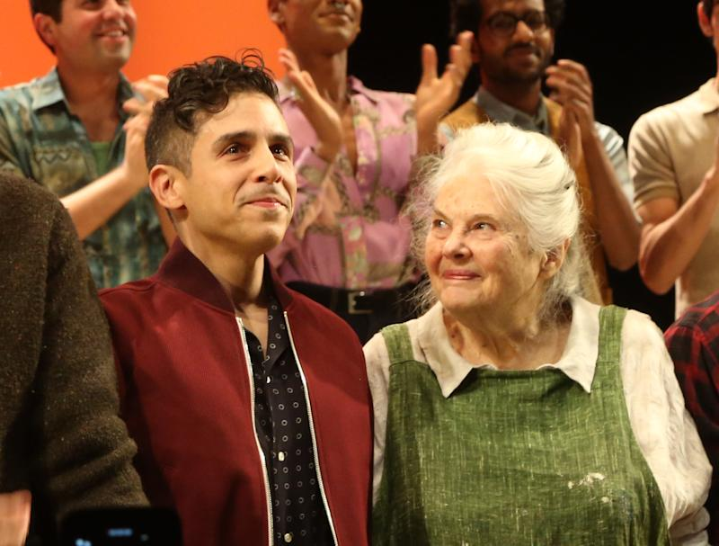 Playwright Matthew Lopez and and actor Lois Smith during opening night of The Inheritance on Broadway, November 17, 2019.