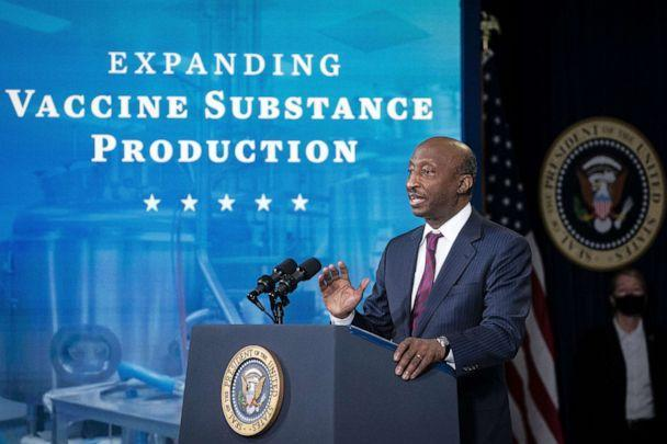 PHOTO: Ken Frazier, chairman and CEO of Merck & Co., speaks during an event in the Eisenhower Executive Office Building in Washington, March 10, 2021. (Bloomberg via Getty Images)
