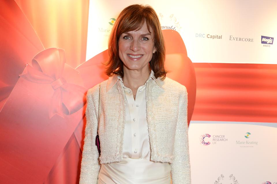 LONDON, ENGLAND - DECEMBER 15:     Fiona Bruce attends the 12th annual Emeralds & Ivy Ball in aid of Cancer Research UK and The Marie Keating Foundation at The Royal Horticultural Halls on December 15, 2018 in London, England.  (Photo by David M. Benett/Dave Benett/Getty Images)
