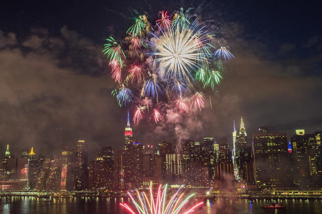 <p>With the New York City skyline in the background, fireworks explode during an Independence Day show over the East River, Tuesday, July 4, 2017, in New York. (AP Photo/Andres Kudacki) </p>