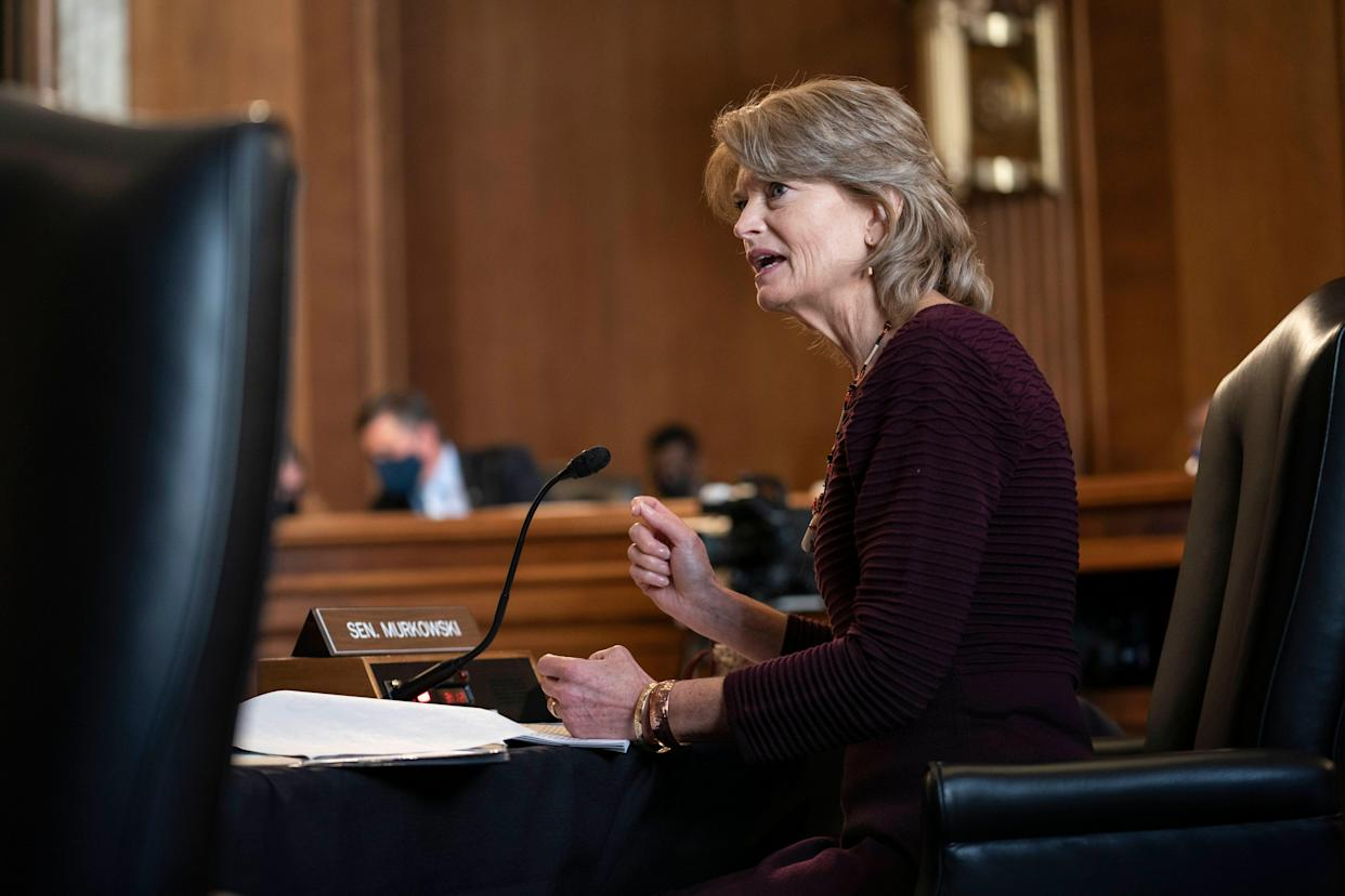 Sen. Lisa Murkowski (R-Alaska) pressed Haaland at the confirmation hearing about the nominee's awareness of how tribal interests are represented in Alaska. Haaland pledged to bone up on the subject. (Photo: Sarah Silbiger-Pool/Getty Images)