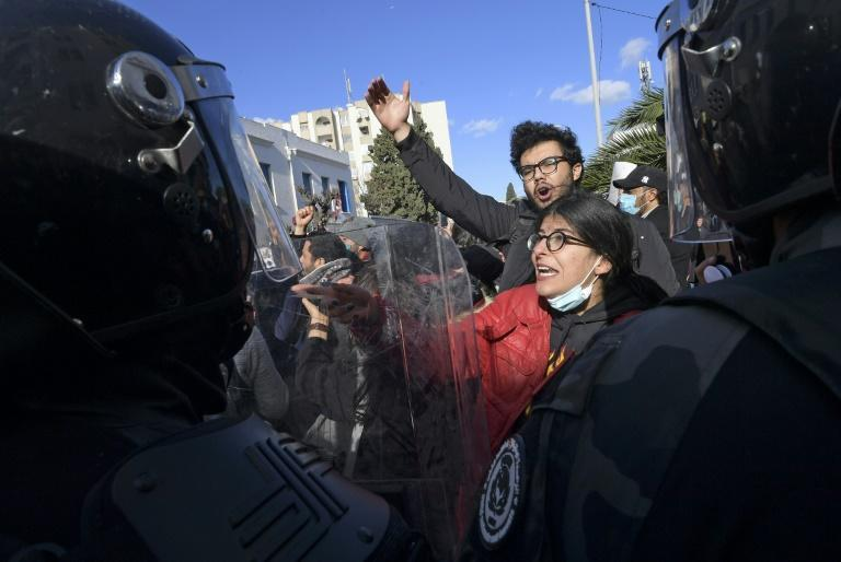 Tunisian police blocked protesters from accessing the parliament building during a demonstration in the capital Tunis in January