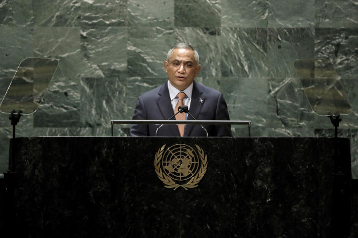 Belize Prime Minister John Briceño addresses the 76th session of the United Nations General Assembly, Friday Sept. 24, 2021, at UN headquarters. (Peter Foley/Pool Photo via AP)