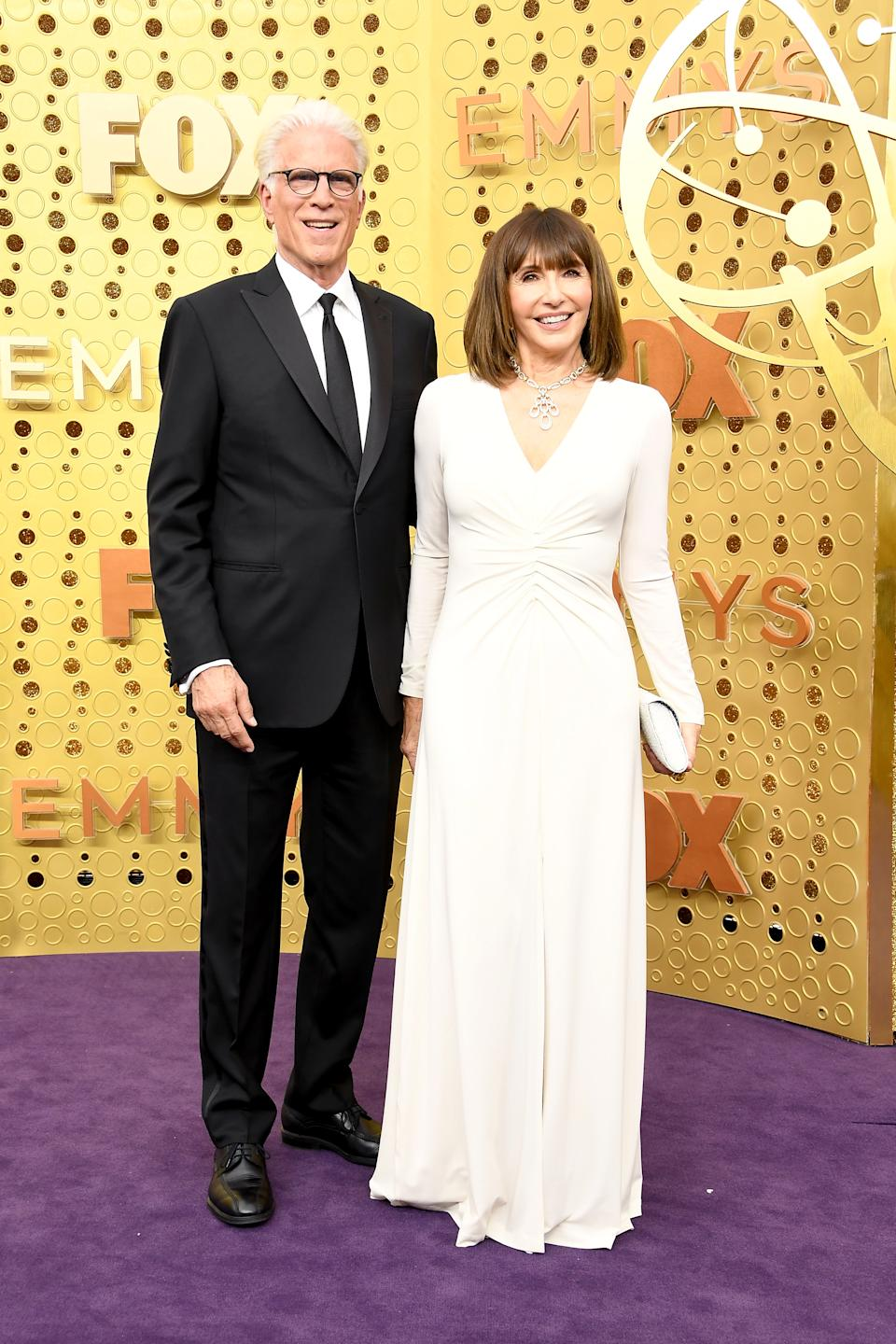 """Ted Danson and wife Mary Steenburgen were all smiles as they arrived to celebrate Danson's nomination for """"Outstanding Lead Actor in a Comedy Series"""" for his role on 'The Good Place'. [Photo: Getty]"""