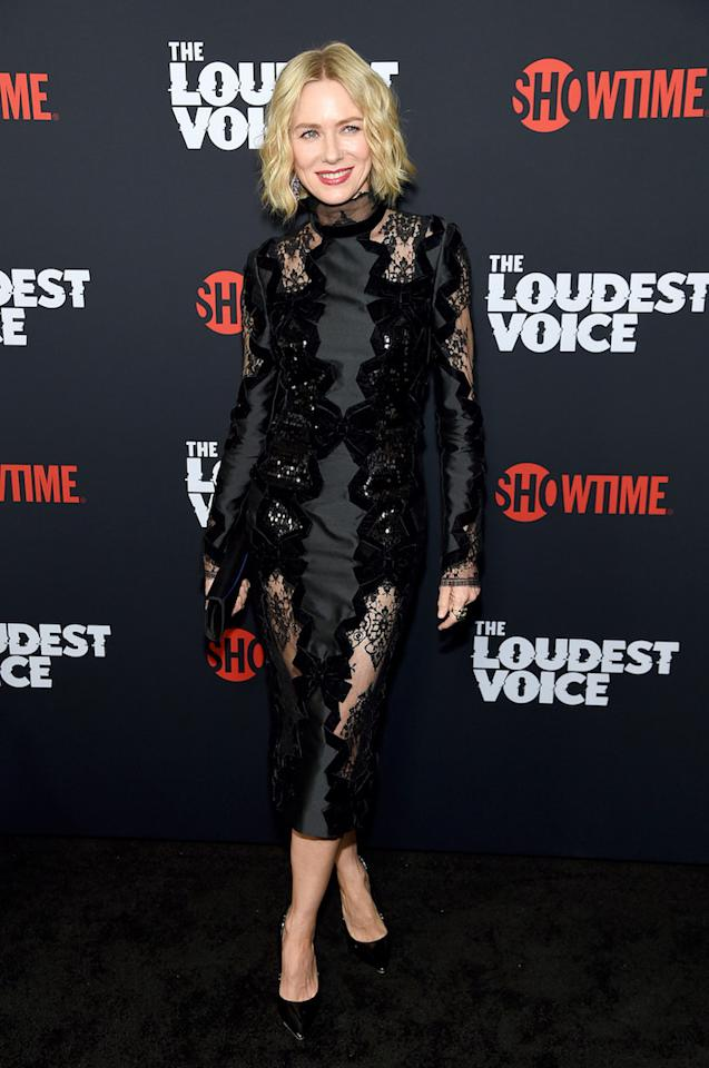 For the starry night in Paris, Naomi Watts chose a lace cut-out midi dress by Erdem. <em>[Photo: Getty]</em>