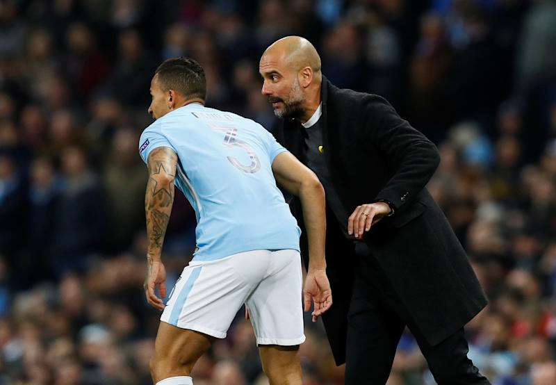 Soccer fans can see Pep Guardiola (right) and Manchester City up close and personal during their historic 2017-18 campaign on Amazon Prime. (Action Images via Reuters/Jason Cairnduff)