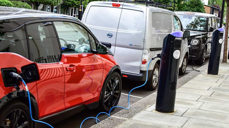 Electrical cars using public London chargers on pavement