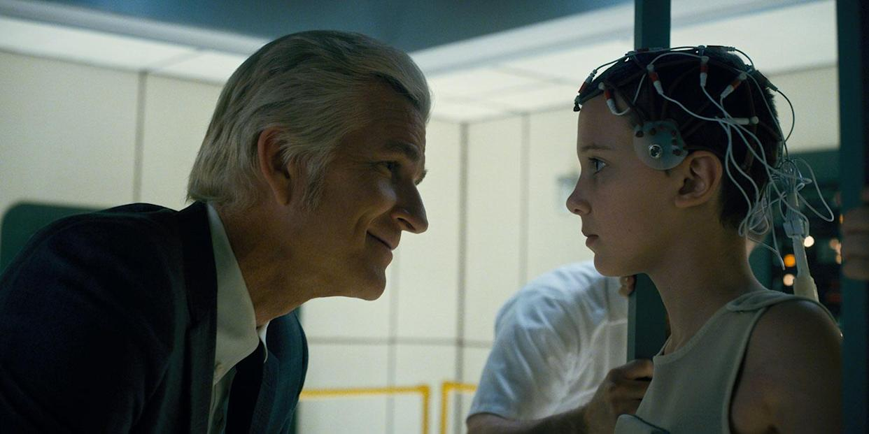 Matthew Modine and Millie Bobby Brown in a still from S1 of Stranger Things (Netflix)