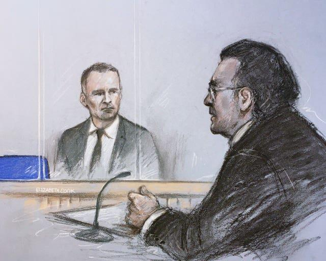 Court artist sketch of Ryan Giggs in April