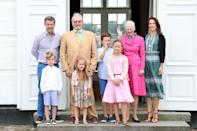 <p>July 2016: Mary, Frederik and their children celebrate summer with the late Prince Henrik and Queen Margrethe II of Denmark. Photo: Getty Images.</p>