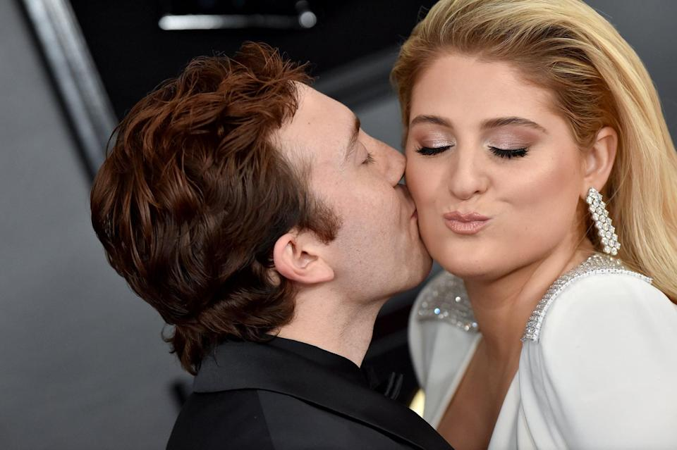 LOS ANGELES, CALIFORNIA - FEBRUARY 10: Daryl Sabara and Meghan Trainor attend the 61st Annual GRAMMY Awards at Staples Center on February 10, 2019 in Los Angeles, California. (Photo by Axelle/Bauer-Griffin/FilmMagic)