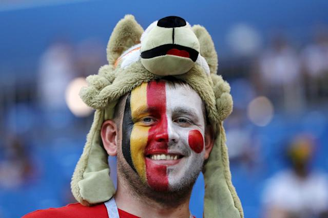 <p>A fan enjoys the pre match atmosphere prior to the 2018 FIFA World Cup Russia Round of 16 match between Belgium and Japan at Rostov Arena on July 2, 2018 in Rostov-on-Don, Russia. (Photo by Kevin C. Cox/Getty Images </p>