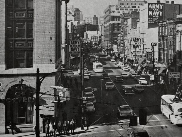 The Army & Navy's footprint seen from the corner of West Hastings Street and Carrall Street in Vancouver in 1966. Last May, the company announced it was closing its five locations after 101 years in business.