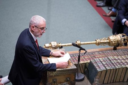 Britain's opposition Labour Party leader, Jeremy Corbyn speaks in Parliament following the vote on Brexit in London, Britain, March 13, 2019. UK Parliament/Jessica Taylor/Handout via REUTERS