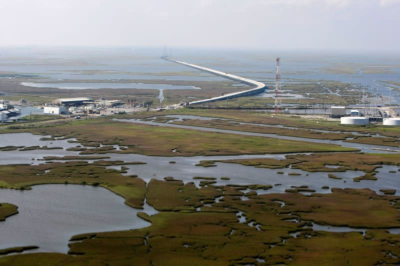 FILE PHOTO: An aerial view is seen of the town of Port Fourchon and its surrounding marshes in Louisiana