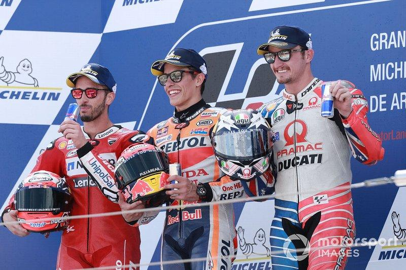 "Podio: 1º Marc Márquez, 2º Andrea Dovizioso, 3º Jack Miller, Pramac Racing<span class=""copyright"">Gold and Goose / Motorsport Images</span>"