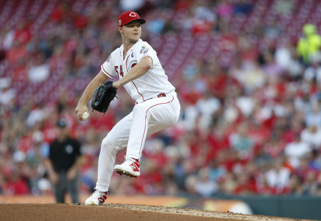 Cincinnati Reds starting pitcher Sonny Gray throws to a St. Louis Cardinals batter during the third inning of a baseball game Thursday, Aug. 15, 2019, in Cincinnati. (AP Photo/Gary Landers)