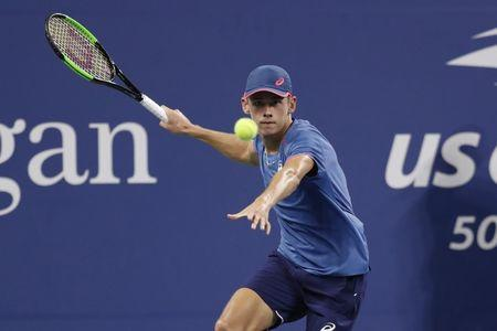 Sep 1, 2018; New York, NY, USA; Alex de Minaur of Australia hits a forehand against Marin Cilic of Croatia (not pictured) in the third round on day six of the US Open at USTA Billie Jean King National Tennis Center. Mandatory Credit: Geoff Burke-USA TODAY Sports
