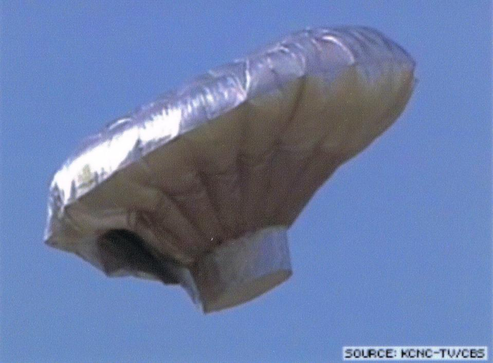 The home-built helium filled balloon as it floats over the U.S. state of Colorado.
