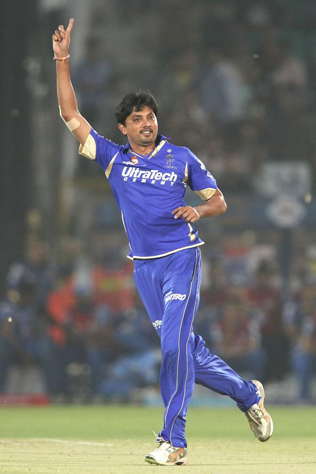 Siddharth Trivedi of Rajasthan Royals celebrates Rohit Sharma of Mumbai Indians wicket during match 23 of the Pepsi Indian Premier League (IPL) 2013 between The Rajasthan Royals and the Mumbai Indians held at the Sawai Mansingh Stadium in Jaipur on the 17th April 2013..Photo by Shaun Roy-IPL-SPORTZPICS  ..Use of this image is subject to the terms and conditions as outlined by the BCCI. These terms can be found by following this link:..https://ec.yimg.com/ec?url=http%3a%2f%2fwww.sportzpics.co.za%2fimage%2fI0000SoRagM2cIEc&t=1490392861&sig=FAGwgJJHhUQl_hPtmJtr3A--~C