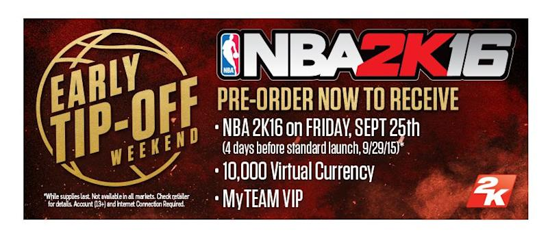 Preordering Nba 2k16 Lets You Play Four Days Early