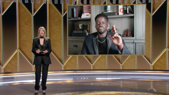 Laura Dern and Daniel Kaluuya speak onstage at the 78th Annual Golden Globe Awards on February 28, 2021. (Photo by NBC/NBCU Photo Bank via Getty Images)