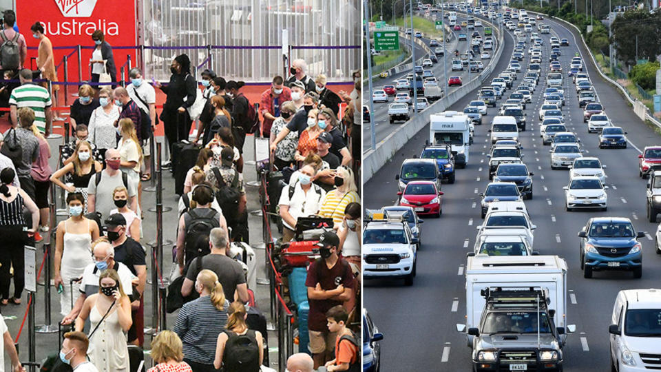 People queue at Brisbane Airport while hundreds of cars crawl down a highway outside the city.