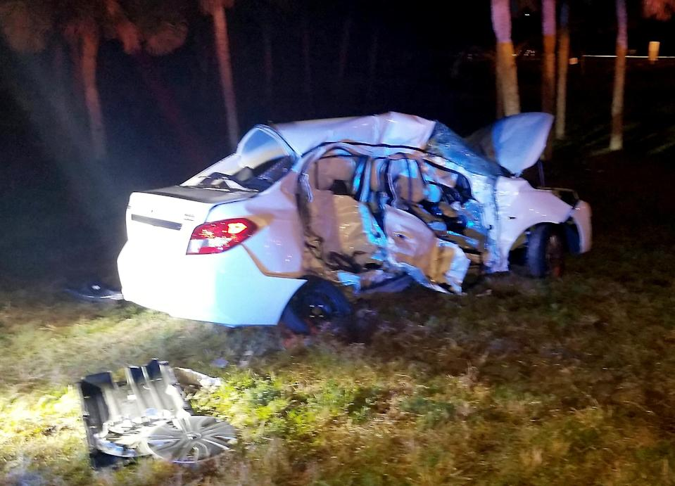 The family's rental car was struck by a pick-up truck (Picture: SWNS)