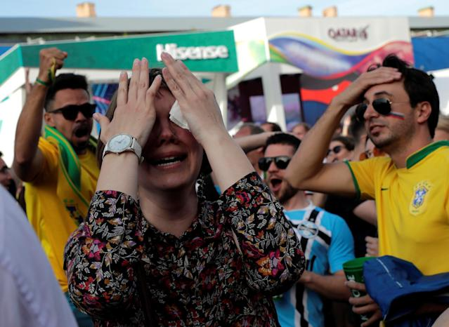 <p>Germany fan reacts at Saint Petersburg Fan Fest. REUTERS/Henry Romero </p>