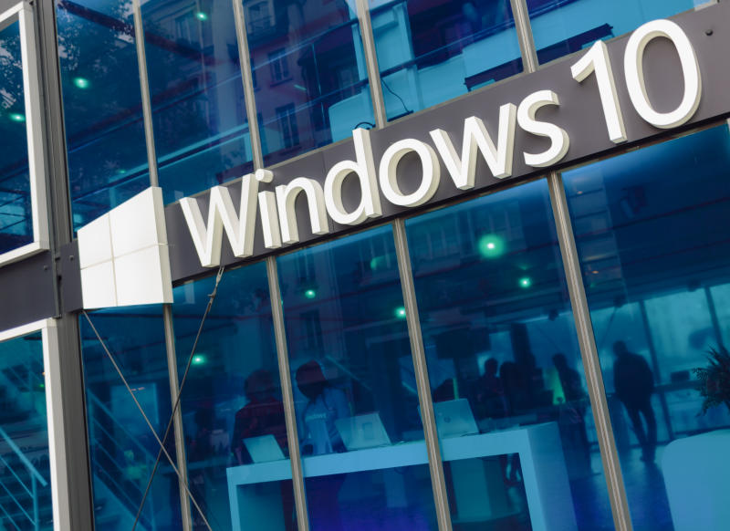 Paris, France - October 9, 2015: Facade of pavilion promoting Windows 10 - the latest operating system from Microsoft. The pavilion was situated on Place Georges Pompidou.
