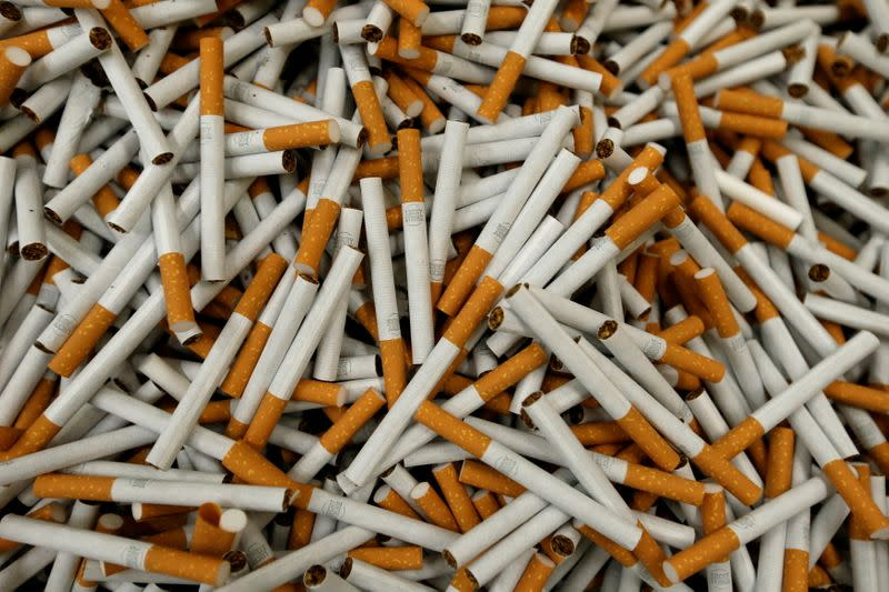 FILE PHOTO: Lucky Strike cigarettes are seen during manufacturing process in BAT Cigarette Factory in Bayreuth