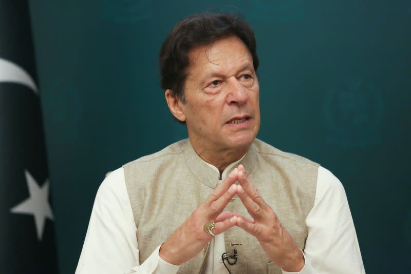 FILE PHOTO: Pakistan's Prime Minister Imran Khan speaks during an interview with Reuters in Islamabad,