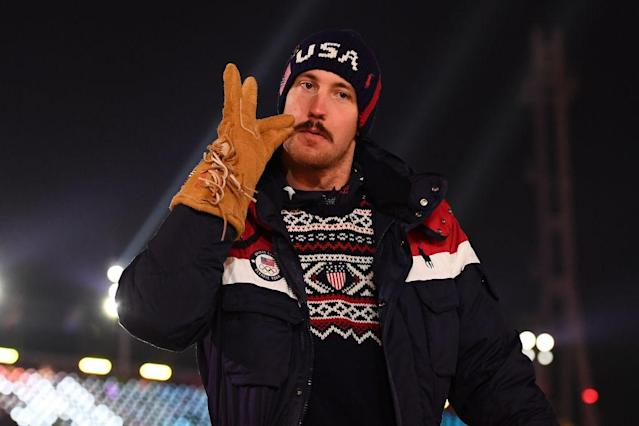 Bryce Bennett enjoyed himself during the Opening Ceremonies of the PyeongChang 2018 Winter Olympic Games. (Getty)