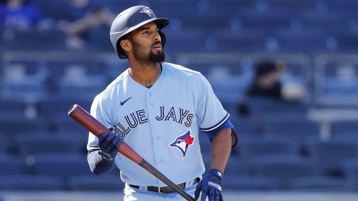 NEW YORK, NEW YORK - MAY 27: (NEW YORK DAILIES OUT)  Marcus Semien #10 of the Toronto Blue Jays in action against the New York Yankees at Yankee Stadium on May 27, 2021 in New York City. The Blue Jays defeated the Yankees 2-0. (Photo by Jim McIsaac/Getty Images)