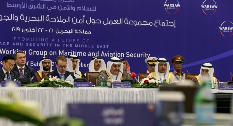 Heads of delegations are seen during the opening session of Peace and Security conference in Manama