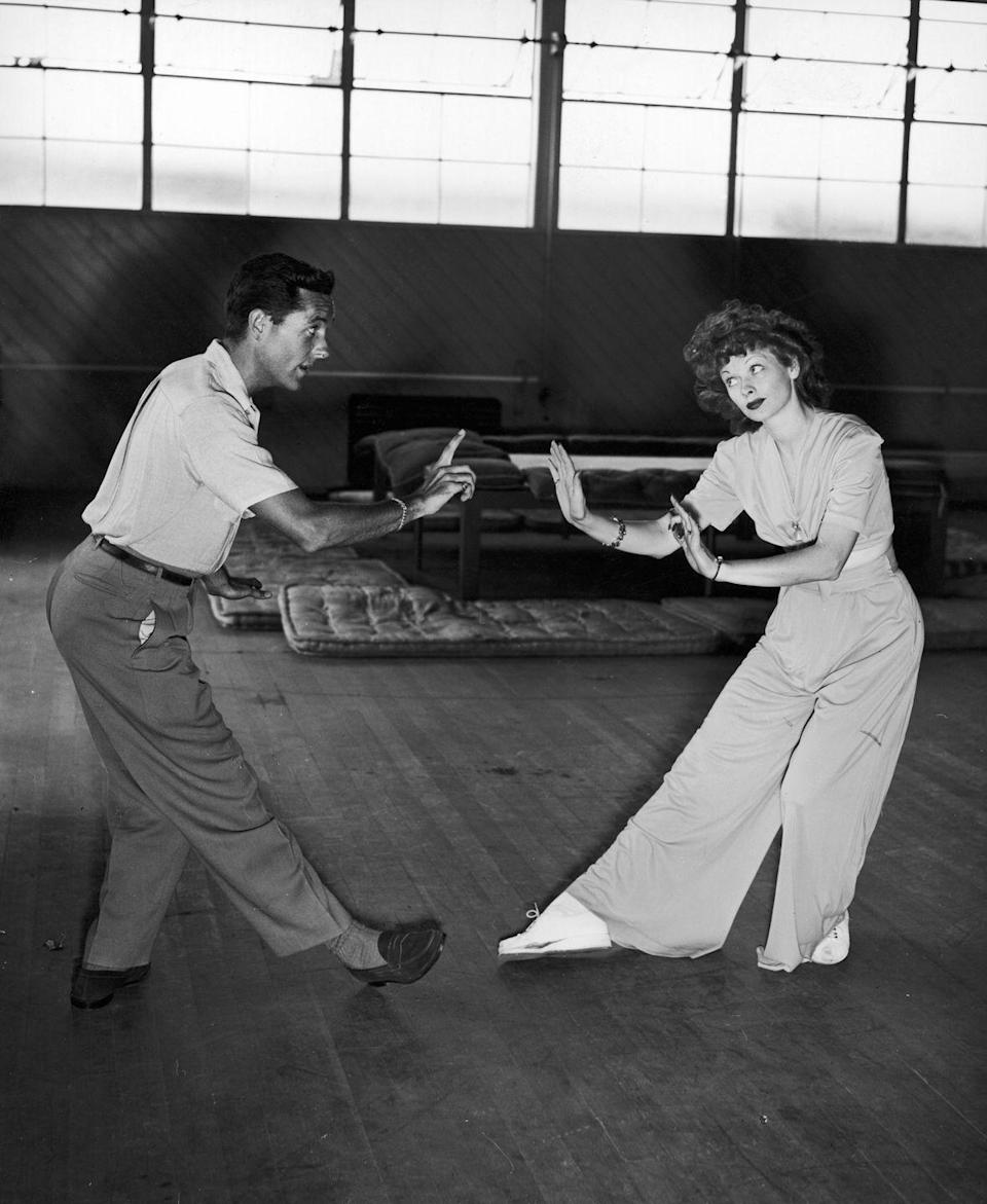 <p>Lucille rehearses with Hollywood dance coach, Charles Walters, in 1943. The actress was preparing for her upcoming role as Madame Du Barry in <em>Du Barry Was a Lady</em>. </p>