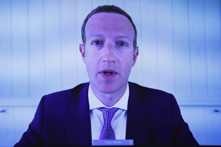 """Facebook CEO Mark Zuckerberg testifies via video conference before the House Judiciary Subcommittee on Antitrust, Commercial and Administrative Law on """"Online Platforms and Market Power"""" in the Rayburn House Office Building on Capitol Hill in Washington, DC on July 29, 2020.   Graeme Jennings/Pool via REUTERS"""