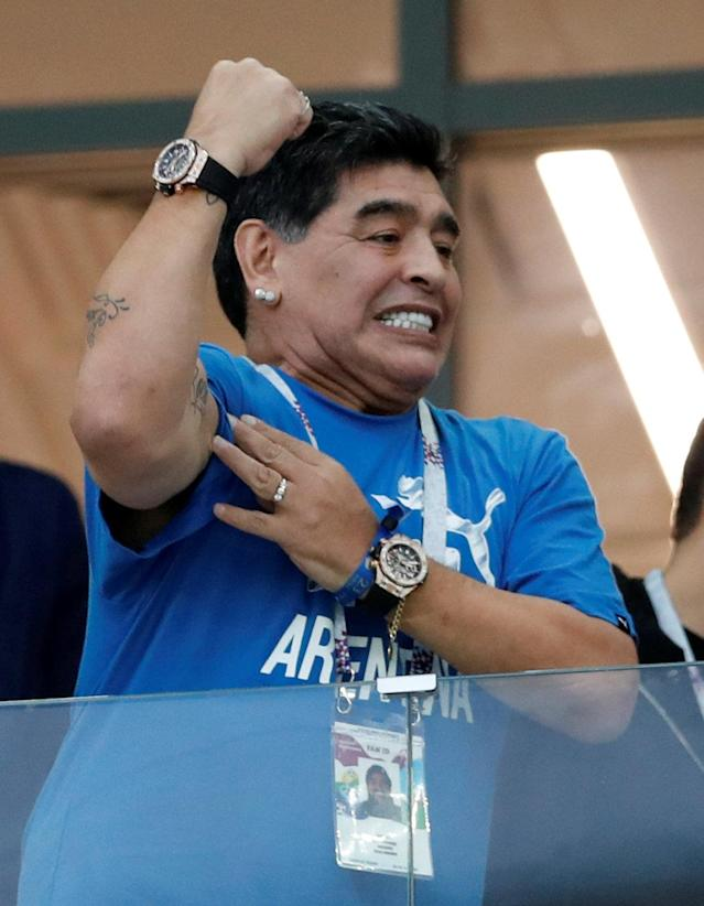 Soccer Football - World Cup - Group D - Argentina vs Croatia - Nizhny Novgorod Stadium, Nizhny Novgorod, Russia - June 21, 2018 Diego Maradona in the stands REUTERS/Matthew Childs