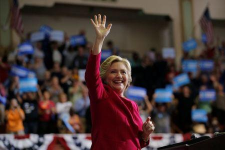 U.S. Democratic presidential nominee Hillary Clinton acknowledges the crowd at a campaign rally in Harrisburg