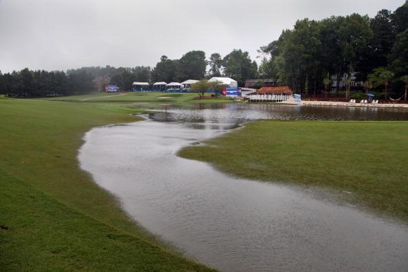 A view of the flooding on the 15th fairway after heavy rains suspended play during the final round of the Wyndham Championship at Sedgefield Country Club on August 19, 2012 in Greensboro, North Carolina. (Photo by Hunter Martin/Getty Images)