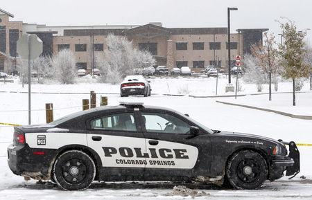 A Colorado Springs Police car blocks the entrance outside the Planned Parenthood clinic a day after a gunman opened fire in Colorado Springs, Colorado November 28, 2015. REUTERS/Isaiah J. Downing
