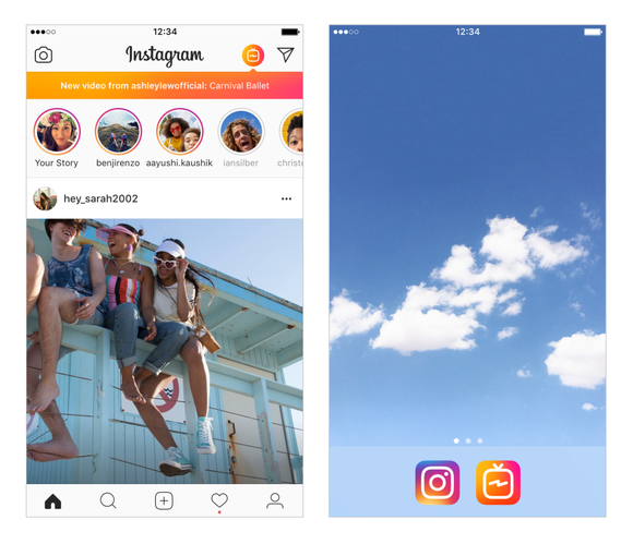 Two screenshots from the Instagram video app: one capturing three friends sitting on a rail, the other of white, fluffy clouds.